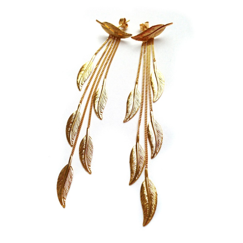 Bijou femme, boucles d'oreilles plumes, Or jaune et blanc, 9 carats