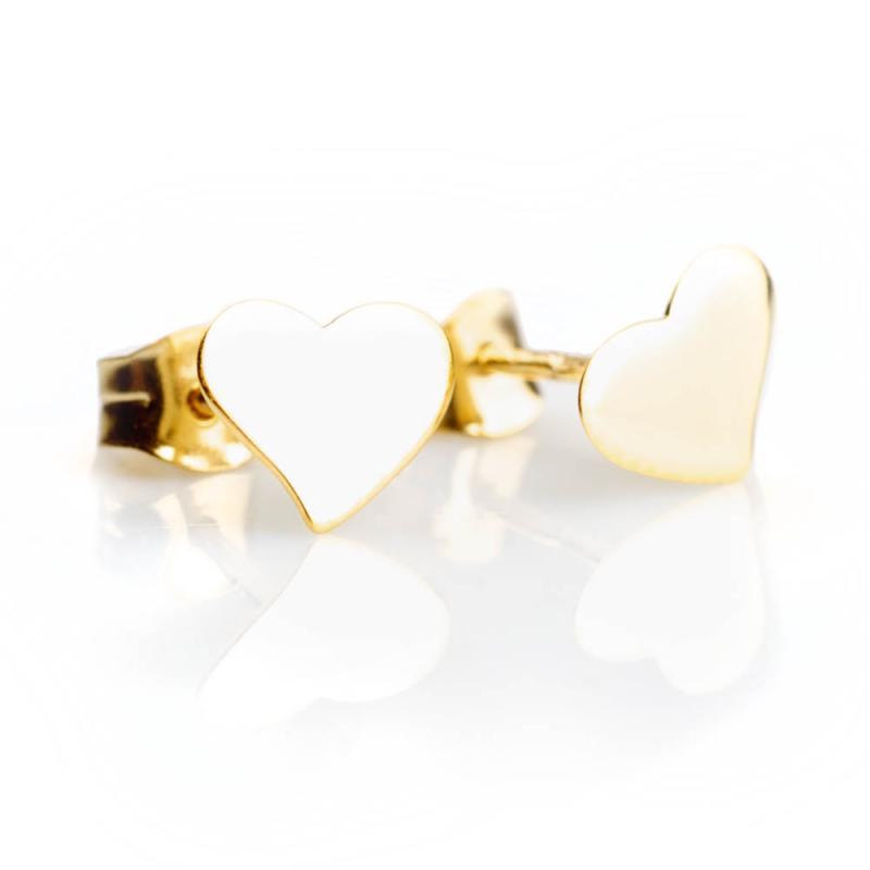 Bijou femme, Boucles d'oreilles coeur asymétrique, or jaune et blanc, 9 carats  Ma demoiselle