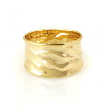 Bijou femme, bague froissée, or jaune et blanc, 9 carats