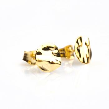 Boucles d'oreilles petit rond froissé Or jaune ou Or blanc