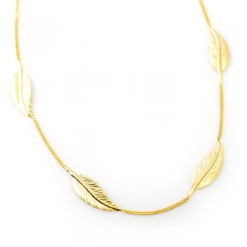 Collier  4 grandes plumes Or jaune ou Or blanc